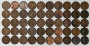 1917 D Lincoln Wheat Cent 1c Vf + Very Fine Plus W/ Problems Full Roll 50 Coins