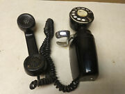 Antique Black Wall Phone American Electric Rotary Space Saver Nb830c