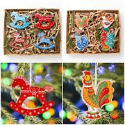 Set Wooden Toys On The Christmas Tree Traditional Wooden Tree Ornament Decor