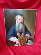 Large Painting Ancien.homme Religious Oil Canvas Signed Aubree And Dated 1853