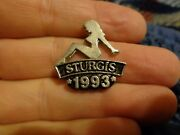 1993 Sturgis Pinup Sexy Girl Vest Lapel Pin Motorcycle Rally Badland Black Hills
