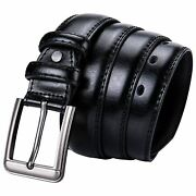 Menand039s Pin Buckle Cow Real Leather Belt Waist Strap Black Business Formal Belts C