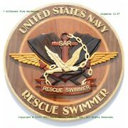 U.s. Navy Rescue Swimmer Emblem Navy Sar Handcrafted Wood Art Military Plaque