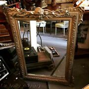 Antique Gilt French Mirror Gesso / Wood With Decorative Face Mask. L@@k