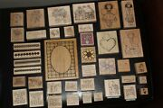 Huge Lot 42 Rubber Wood Large Mounted Stamps Collection Stampin Up Etc Vintage