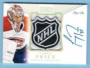 2013-14 National Treasures Signature Nhl Shield Patch Carey Price 1/1 1 Of 1