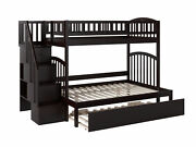 Westbrook Staircase Bunk Twin Over Full With Twin Size Urban Trundle Bed In Grey