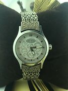 """Vintage Lois Hill Swiss Quartz Stainless Steel / Silver Large Watch 8.5"""" Lh-0006"""