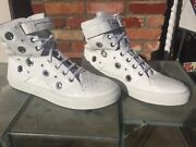 Byron Simon White Leather Hi Hi Top Shoes Size 48/12 Made In Italy