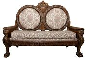 Late 19th Century Ornately Carved Oak Settee 88468