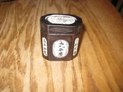Vintage Chinese Snuff Tobacco Wooden Box With Bone Inlay