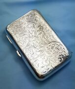 Antique 1901 Hilliard And Thomason Sterling Silver Chased Floral Cigarette Case