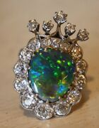 Antique Diamond And Opal Crown Ring Late 1800s 3.5 Carats Diamond