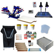 4 Color Screen Printing Press Tools Kit Simple Exposure Unit And Drying Cabinet