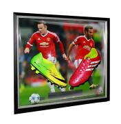 Framed Wayne Rooney And Juan Mata Signed Manchester United Boots In Dual Framing