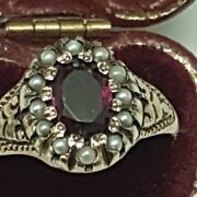 Victorian Enameled 12k Gold Genuine Amethyst And Genuine Seed Pearls Ring 1880s