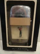 Vintage Scripto Vu Lighter Golfer With Tan Band In Box