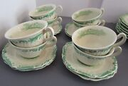 8 Antique Ridgways Ironstone Cups And Saucers-charles Dickens Series-embossed