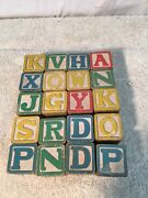 Vintage Set Of Wood Toy Letter And Picture 20 Pc Blocks 1930s 40s Japan
