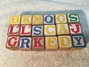 Vintage Set Of Wood Toy Letter And Picture 18 Pc Blocks 1930s 40s Japan