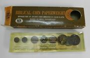 Vintage Biblical Ancient Coin Paperweight Paper Weight W/ Box 1969