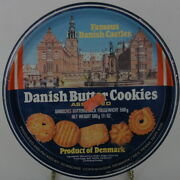 Danish Butter Cookie Tin Vintage Product Of Denmark Blue Empty Round 7.5