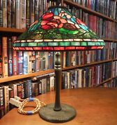 Antique Studios Reproduction Poppy Leaded Glass Lamp Chicago Styles