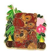 Chip And Dale New Rare Le 125 Disney Pin Tiki Totem Pole Coconuts Flowers Torch