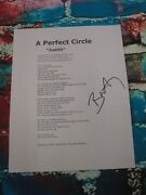 Billy Howerdel  A Perfect Circle Signed Lyric Sheet Lom Coa Ph3778
