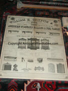Antique Pool/brunswick/billiard W H Griffith And Co Tables And Acc Catalog C1870and039s