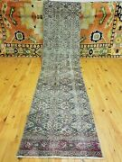 Primitive Antique 1930-1940s Wool Pile 2and0393andtimes9and0398 Muted Dye Runner Rug