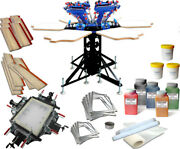 6 Color Screen Printing Kit Manual Screen Stretcher Shirt Press Squeegee Tools
