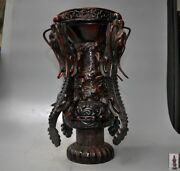 Marked Chinese Old Ox Horn Dragon Statue Oxhorns Goblet Cup Wine Vessel Zun Cup