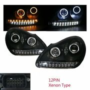 Cayenne 955 9pa 03-06 Guide Led Halo Hid Xenon D1s Headlight Bk For Porsche Lhd
