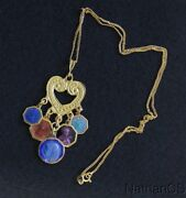 Vermeil Heart Pendant W 5 Vintage Rare Religious Medals Enameled On Both Sides