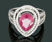 Christmas 1.71ct Natural Round Diamond Ruby 14k White Gold Cluster Ring