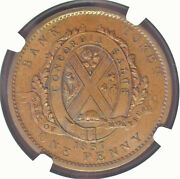 Canada / 1837 Bank Of Montreal One Penny Deux Sous Lc-9d3 Ngc Ms 63+ Bn Scarce