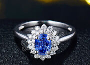 Christmas 1.02ct Natural Round Diamond 14k White Gold Blue Sapphire Cluster Ring