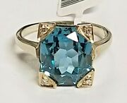 Antique 14k Solid White Gold 5.50 Carat Oval Blue Spinel And Diamond Fashion Ring