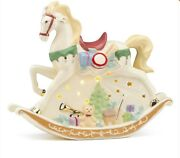 Lenox Lighted Led Christmas Rocking Horse Figurine New In Box With Coa