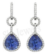 2.10ctw Natural Diamond Sapphire 14k Solid White Gold Wedding A Hoops Earring