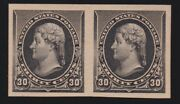 Us 228p5 30c Jefferson Imperf Proof Pair On Stamp Paper Vf-xf W/pf Cert Scv1000