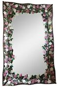 Vintage Art Deco Mirror Emblesished With Cherry Blossom Design Stain Glass Pink