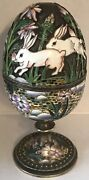 Imperial Russian Silver Inlaid Enamel Easter Egg Ovchinnikov Bunnies And Flowers