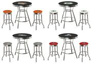 Nfl 3pc Black Bar Table With Glass Top Team Logo Decals On Table Swivel Stools
