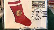1974-d Us 1 Cent Penny 99 Company Christmas Cent From Santa Claus Coin And Stamp