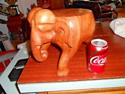 Elephant Plant Stand Hand Carved Solid Wood