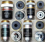 Set Of 4 Parco Microscope Objective Lens 4/0.1, 10/0.25, 40/0.65 And 100/1.2.