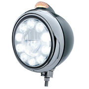 Black Guide Headlight W/ 11 Led High Power Bulb And Amber Led With Clear Lens
