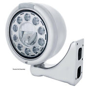 Stainless Steel 7 Led Classic Half-moon Headlight W/ Clear Lens/dual Function
